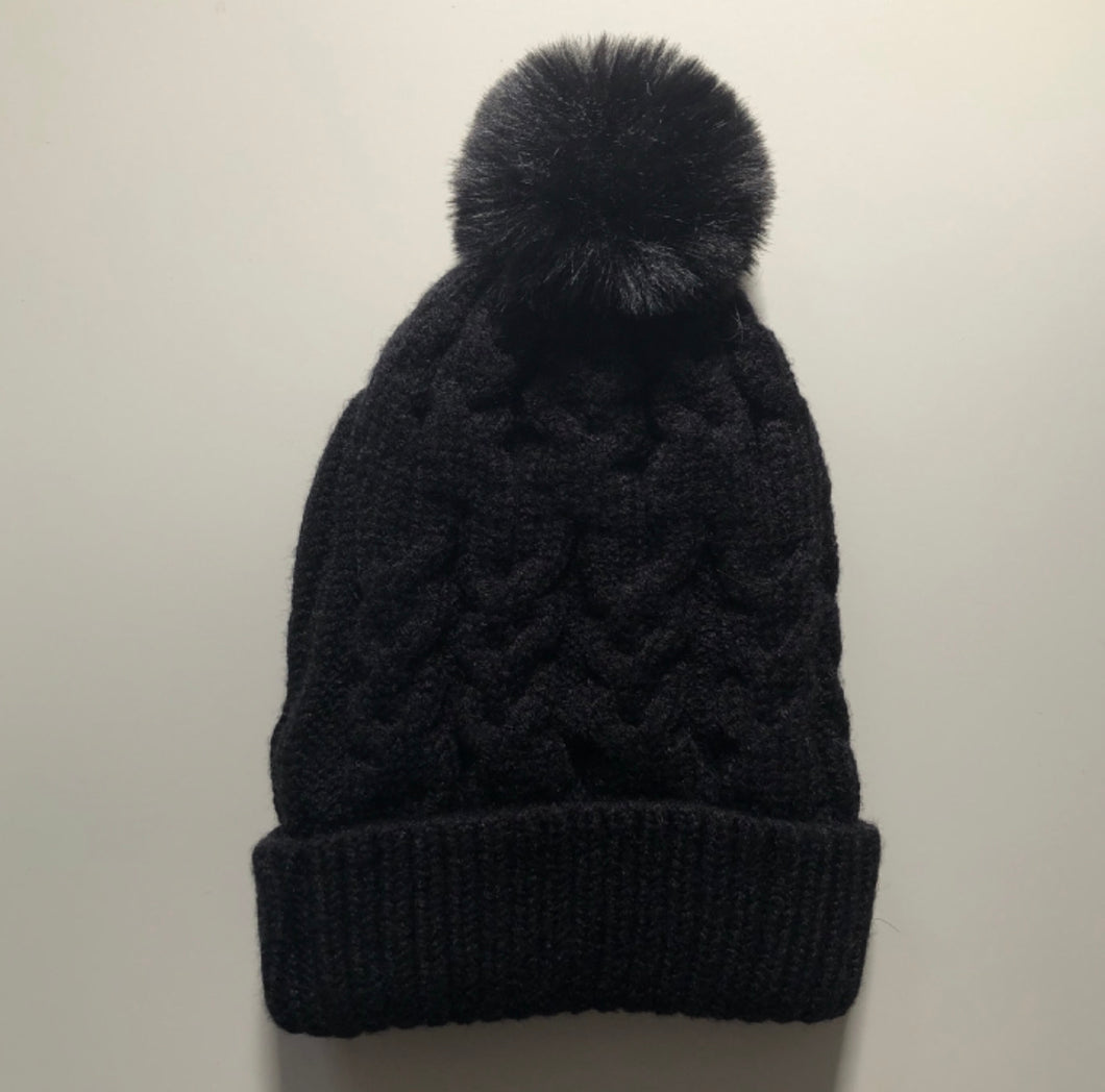 Ink Single Pom Cosy Knit Beanie - Little Oak + Co
