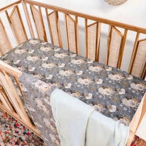 Indigo Blooms Bamboo Jersey Cot Sheet - Little Oak + Co
