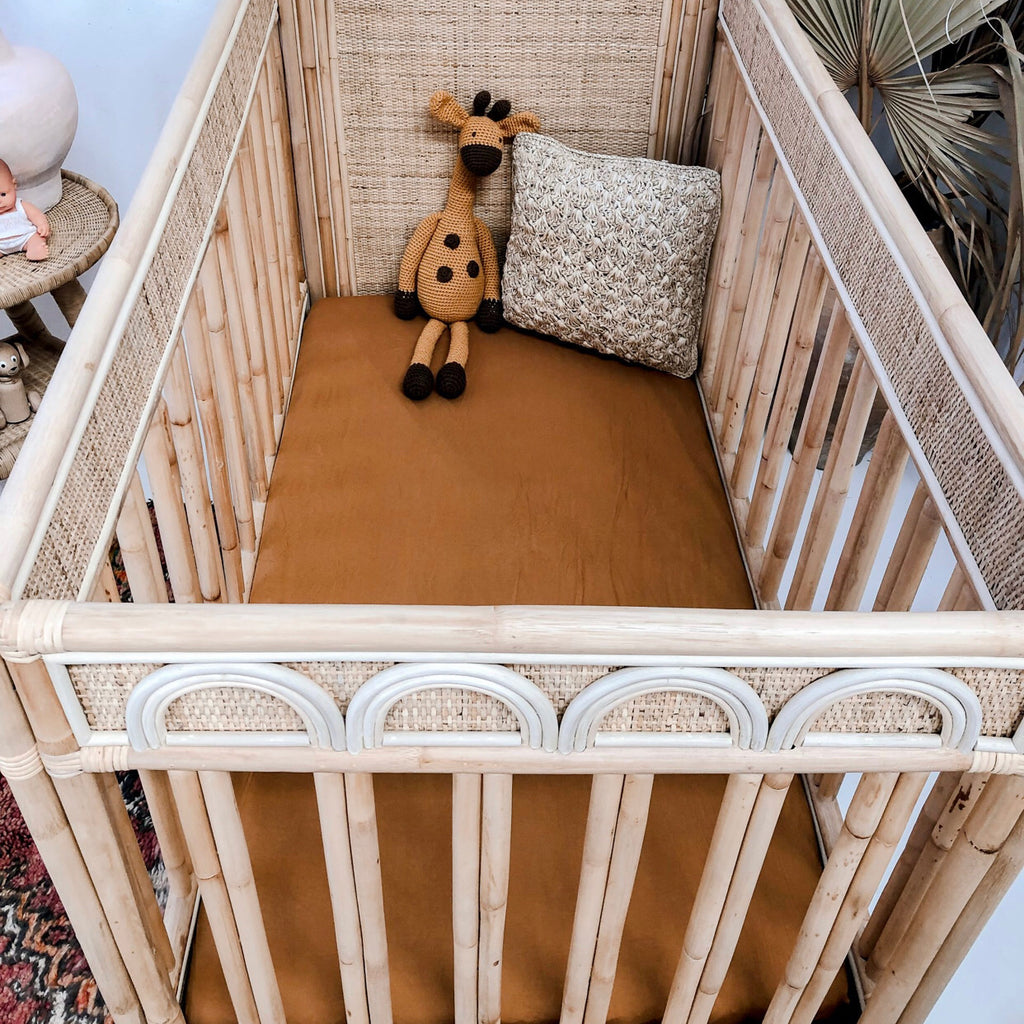 Desert Bronze Bamboo Jersey Cot Sheet - Little Oak + Co