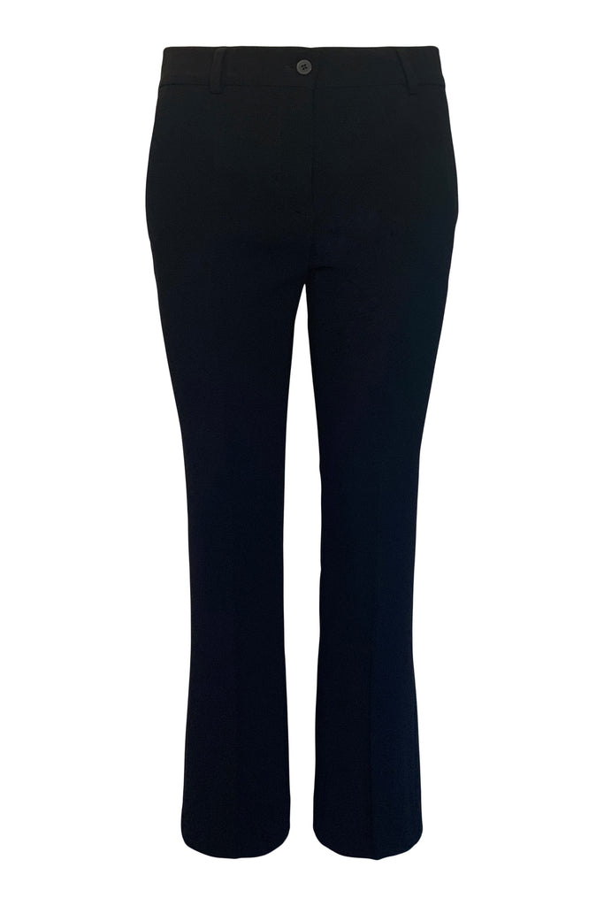 Navy Viscose Cropped Boot Leg Trouser