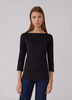 3/4 sleeve boatneck t shirt
