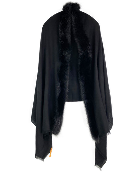 Solid Black Wool with Black Saga Fox Fur