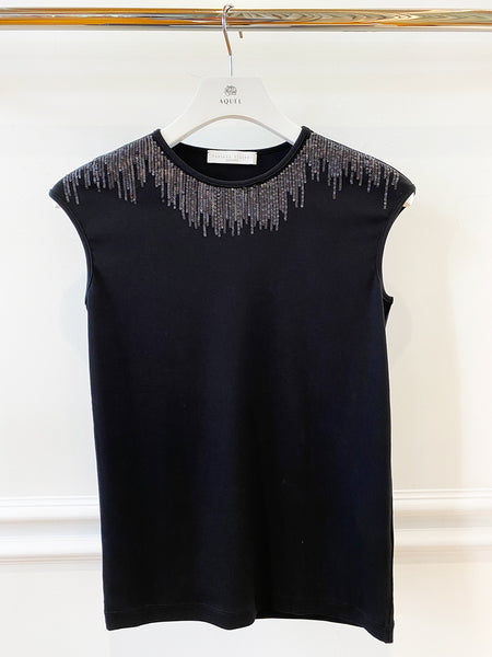 Black  Jersey Sleeveless Sequin Top