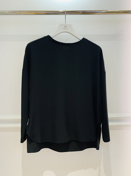 Black Silk Shell L/Sleeve Top