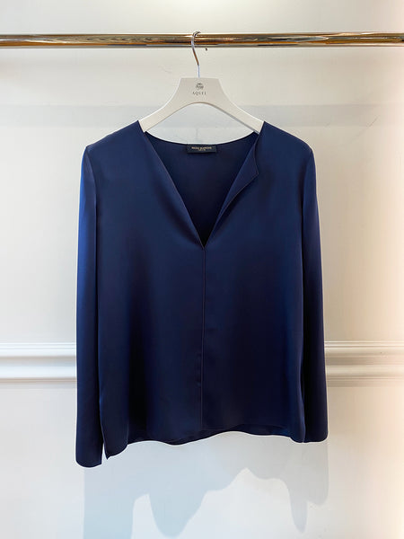 Inverso Satin Navy Tunic Top