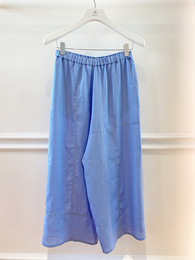 Summer Blue Linen Cropped Pant