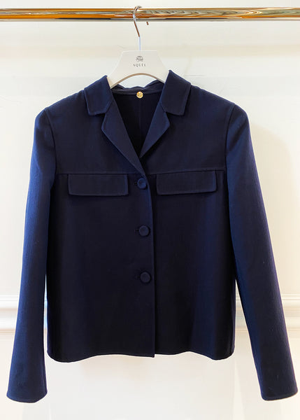 Navy Double Wool Cropped Jacket