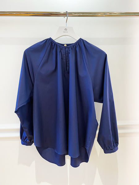 Royal Blue Cotton Gathered Blouse