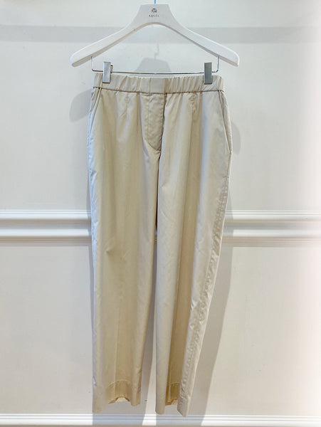 Stone Cotton Elastic Waist Trousers