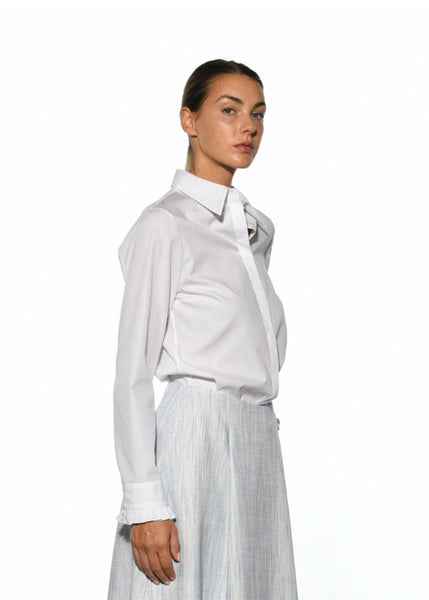 White Cotton Shirt with Pleated Sleeve
