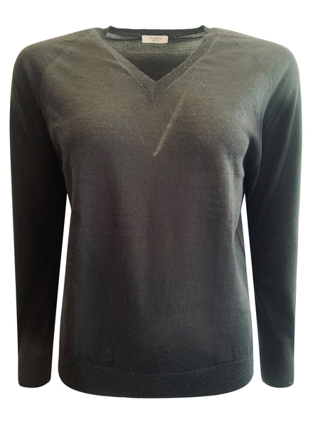 Classic V Neck Black Fine Wool Jumper