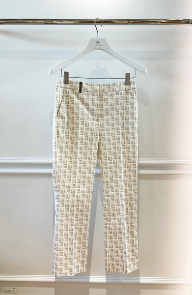 Cream Classic Pant with Brick Weave Pattern