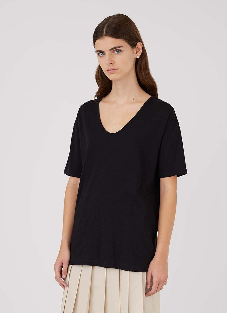 Relaxed Fit Black U Neck T Shirt