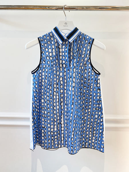 Blue and White Spot Sleeveless Shirt