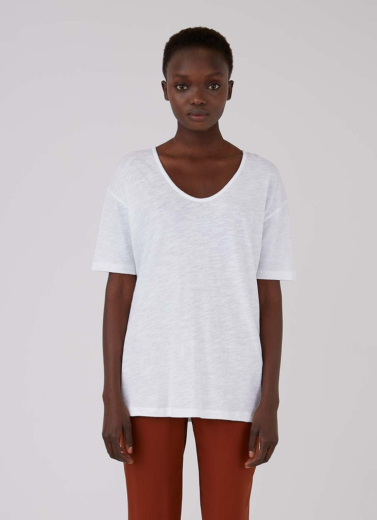 Relaxed Fit White U Neck T Shirt