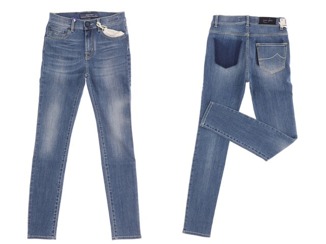 Kimberly Blue Slim Jean with Faded Pocket.