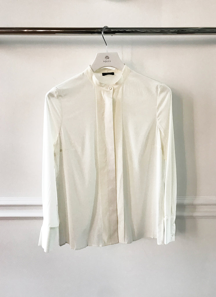 Cream Silk Blouse w Grosgrain Detail
