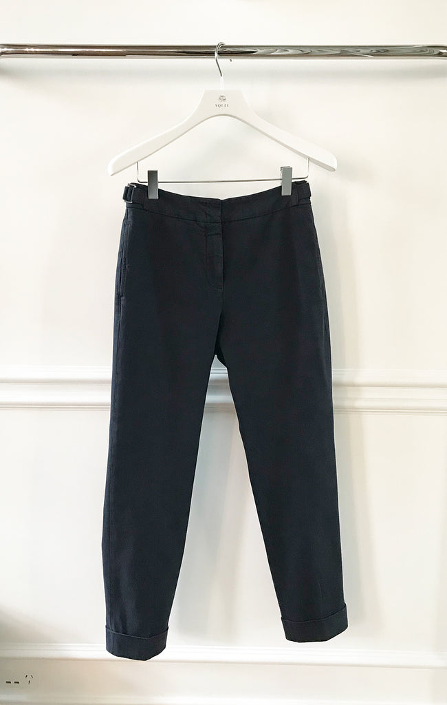 Navy Brushed Cotton Pant w Side Tabs