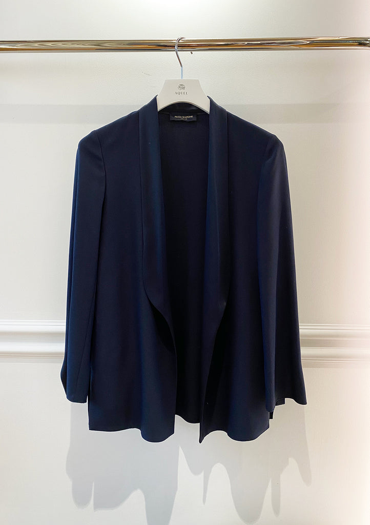 Royal Blue Inverso Satin Duster Jacket