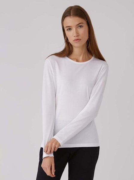 White classic long sleeve crew