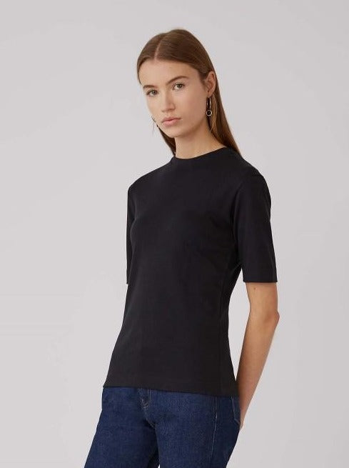Black Mid Sleeve Crew Neck T Shirt