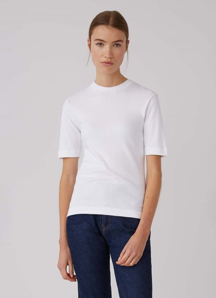 White Mid Sleeve Crew Neck Tshirt