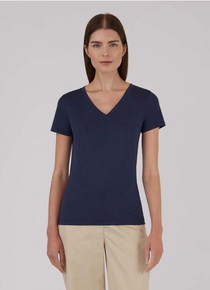 Navy Classic V Neck T Shirt