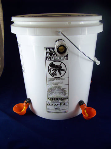 Auto-FIll© Automatic Chicken Waterer 5 Gallon 4 Drinker Cup Garden Hose Connection