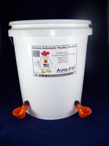 Auto-Fill© Automatic Chicken Waterer 5 Gallon 4 Drinker Cup Manual Fill