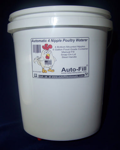 Auto-FIll© Automatic Chicken Waterer 4 Bottom Nipple Manual Fill