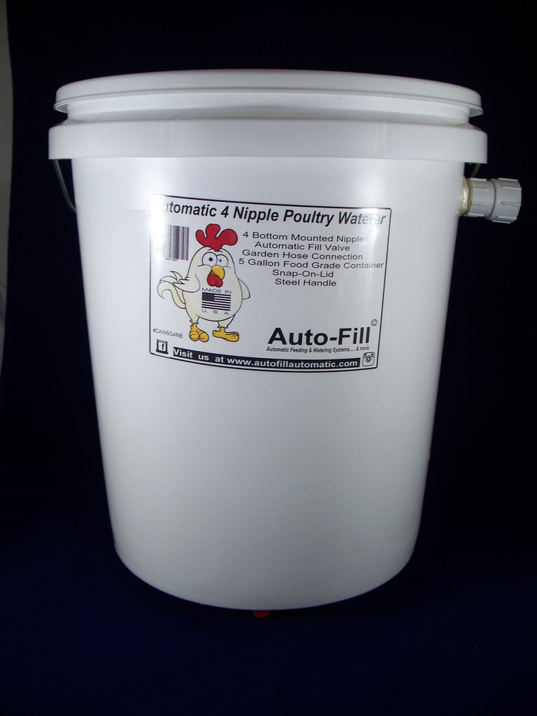 Auto-FIll© Automatic Chicken Waterer 5 Gallon 4 Bottom Nipple Garden Hose Connection