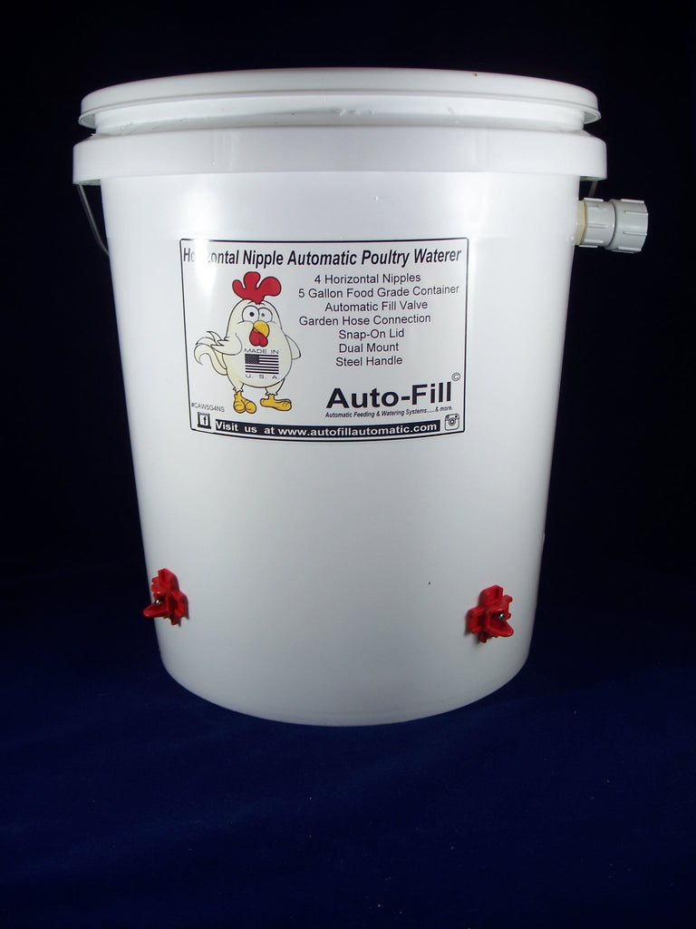 Auto-Fill© Automatic Chicken Waterer 5 Gallon 4 Horizontal  Nipple Garden Hose Connection