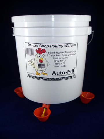 Auto-Fill© Automatic Waterer Deluxe Coop 2 Gallon 4 Drinker Cup Manual Fill