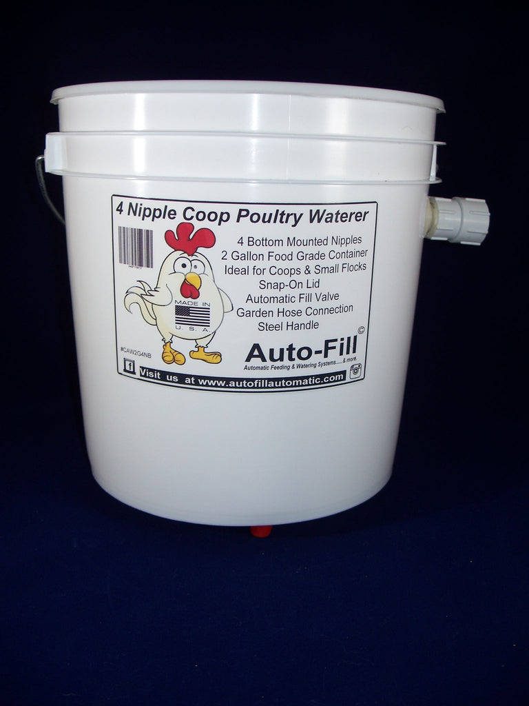 Auto-Fill© Automatic Chicken Waterer 2 Gallon 4 Bottom Nipple Garden Hose Connection