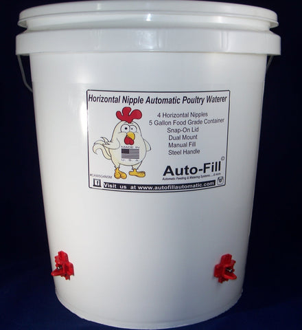 Auto-FIll© Automatic Chicken Waterer 5 Gallon 4 Horizontal Nipple Manual Fill