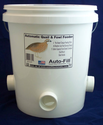 "Quail & Fowl Gravity Feeder 5 Gallon 4 ""No Waste"" Design Feeding Ports by Auto-Fill©"
