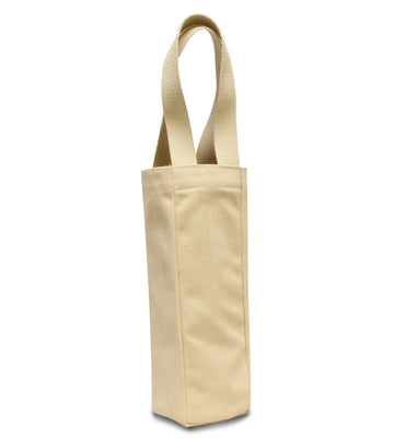 Canvas Wine Tote - Single Bottle wine bag with handles - cotton canvas - Breeze Crafts