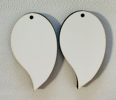 Sublimation Earrings, curved teardrop, 1.5 inch - 1 sided SE4