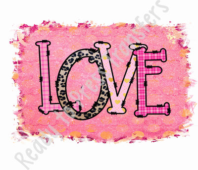 Distressed background with the word Love ready to press sublimation transfers