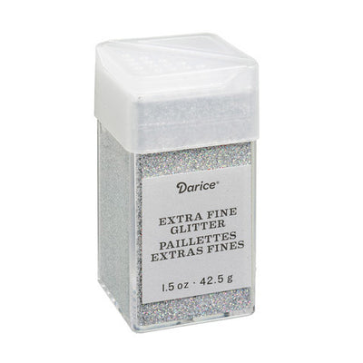 Darice Glitter - Bling Silver Extra Fine - 1.5 ounce -  colorful sparkles, iridescent, tumbler glitter, craft glitter