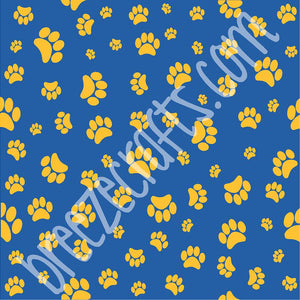 Blue with yellow gold paw prints patterned vinyl sheet - HTV - Adhesive Vinyl  HTV613 - Breeze Crafts