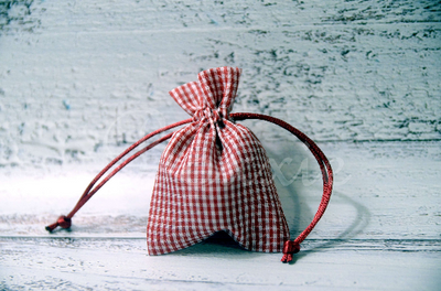 Red gingham fabric bag with 3x4 inch