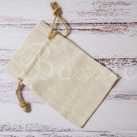 Linen fabric bag with hemp cord 4x6 inch