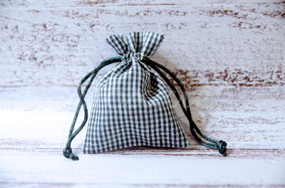 Green gingham fabric bag with 3x4 inch