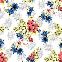 Floral Patterned craft vinyl sheet - HTV or Adhesive Vinyl - coral, blue, yellow and gray flower pattern vinyl  HTV2208 - Breeze Crafts
