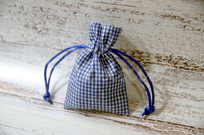Blue gingham fabric bag with 3x4 inch