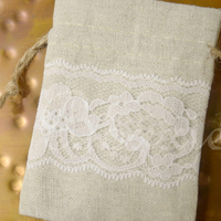 Lace and Linen fabric bag with 3x4 inch