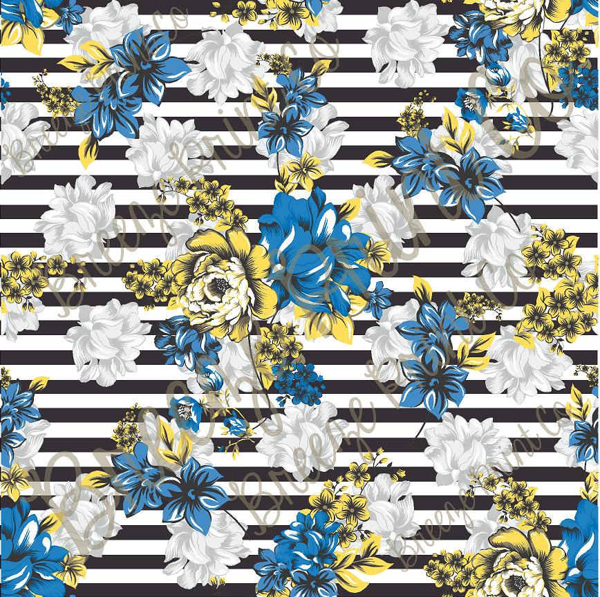 Striped floral craft patterned vinyl sheet, heat transfer/iron on HTV or Adhesive Vinyl, blue and yellow flower pattern vinyl HTV7812