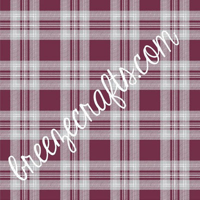 Maroon, white and grey tartan plaid patterned vinyl sheets, heat transfer vinyl, HTV, adhesive vinyl