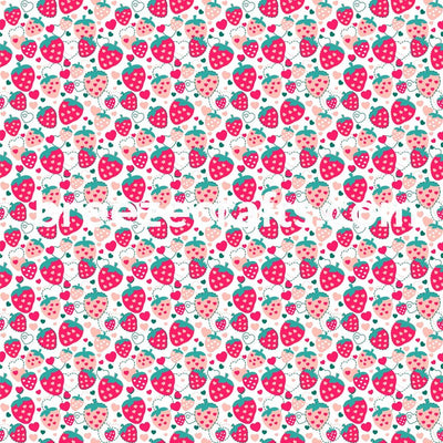 Strawberry heart stitch pattern vinyl sheets, fruit patterned vinyl, summer pattern vinyl, htv, heat transfer, adhesive vinyl, glitter vinyl, craft vinyl, outdoor vinyl, indoor vinyl